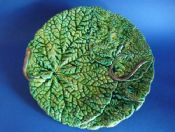 Rare Vibrant French Majolica Begonia Leaf Plate c1880